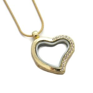 Jewelry - Gold Color Floating Locket Gem Heart Necklace